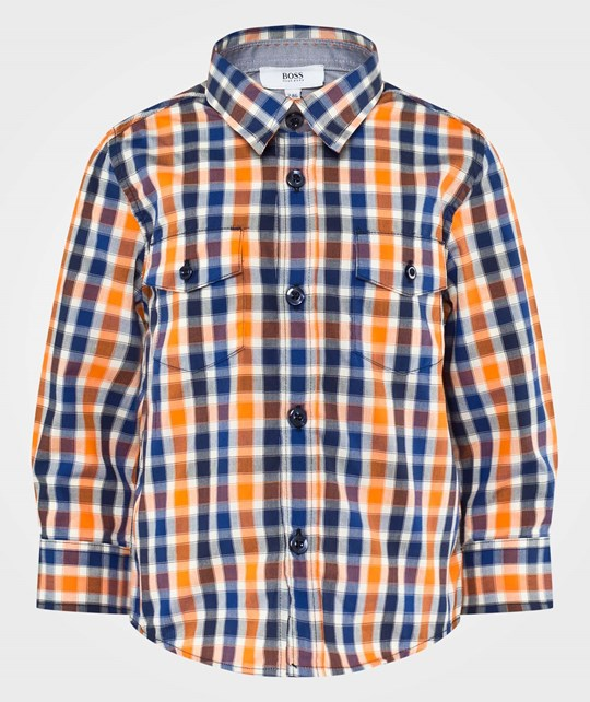 BOSS Long Sleeved Shirt Orange/Blue Navy Multi