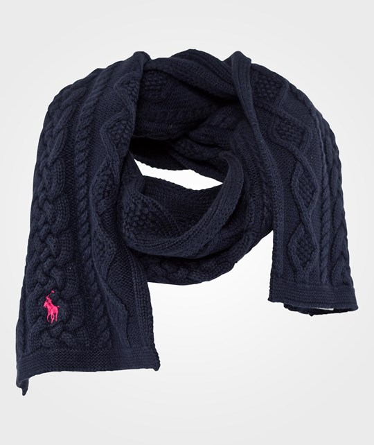 Ralph Lauren Aran Cable Scarf Hunter Navy Blue