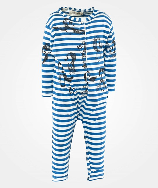 Bobo Choses LS Jumpsuit Stripes Birds Blue Blue