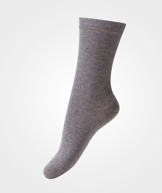 Melton Basic Sock Light Grey Melange Black