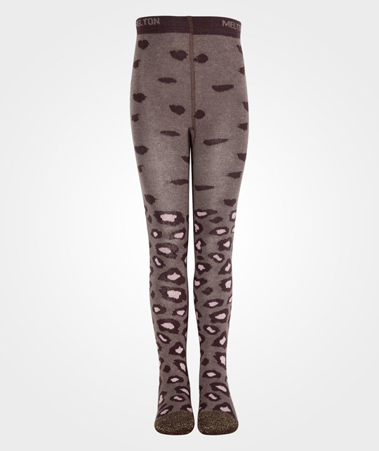 Melton Tights Leopard Chocolate Brun
