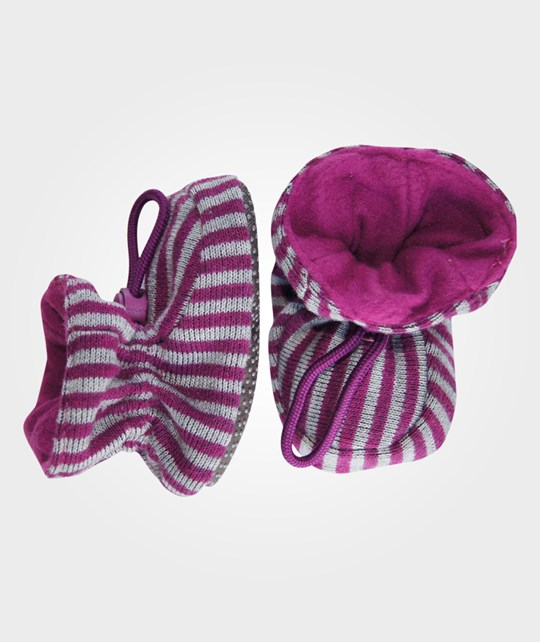 Melton Booties Knitted Stripes Burgundy Purple