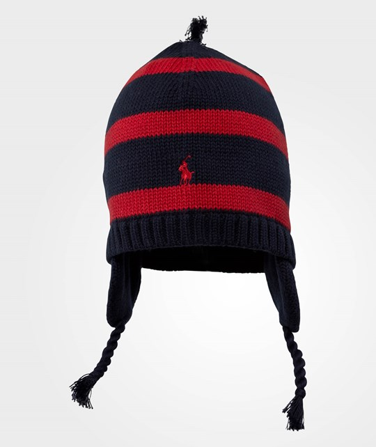 Ralph Lauren Rugby Striped Earflap Hat W/PP Hunter Navy Blue