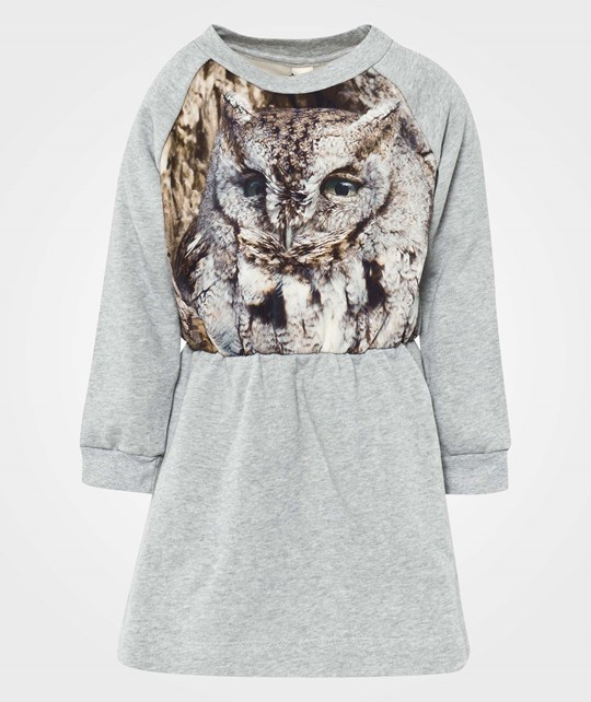 Popupshop Robbies Dress Grey Melange/ Owl print Multi