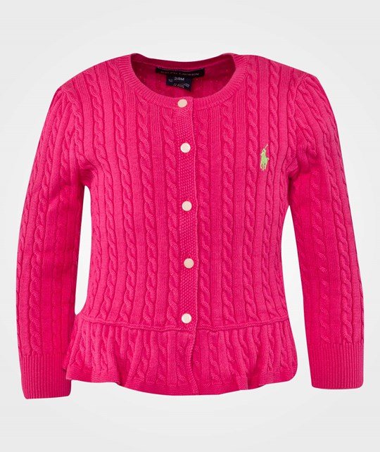 Ralph Lauren LS Mini Cable Cardigan W/Pepl Pink Pink