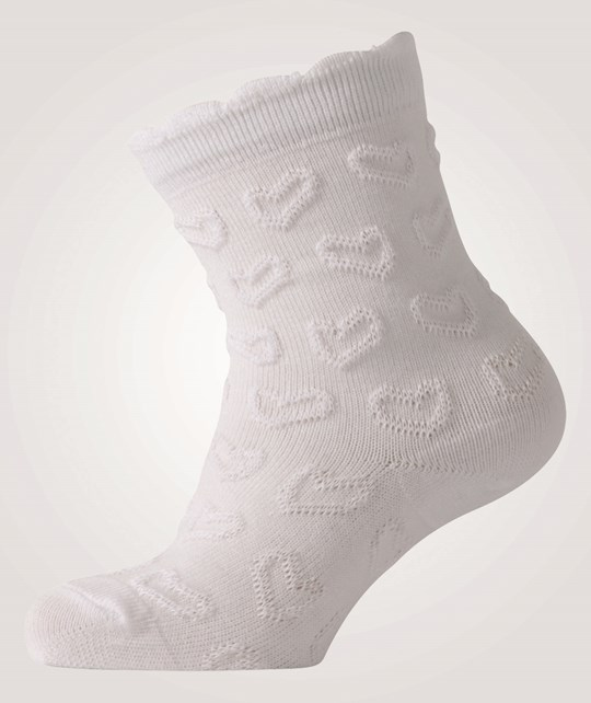 Melton Classic Sock W/Heart Structure White White