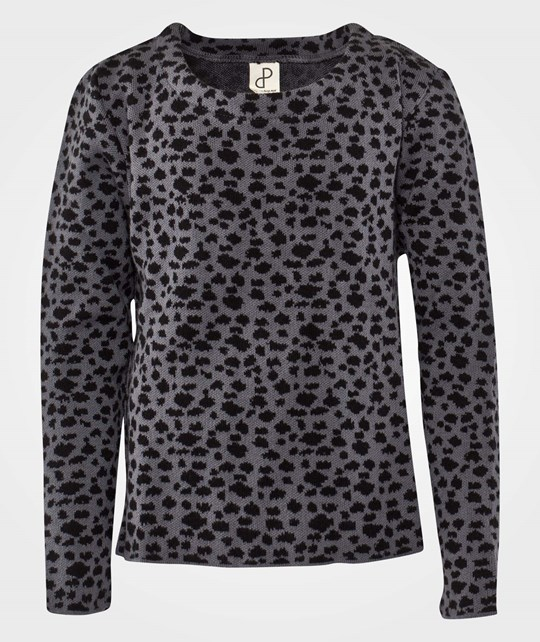 Popupshop Knit Sweat Leopard Print Black/Grey Multi