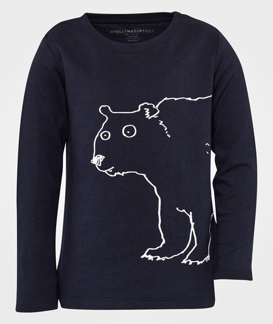 Stella McCartney Kids Barley Polar Bear LS Tee Night Svart Black