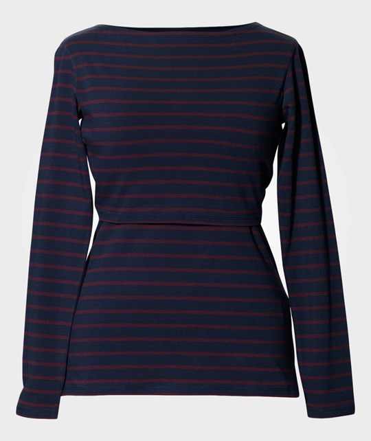 Boob N top Simone l/s Mullberry Red Stripe Red