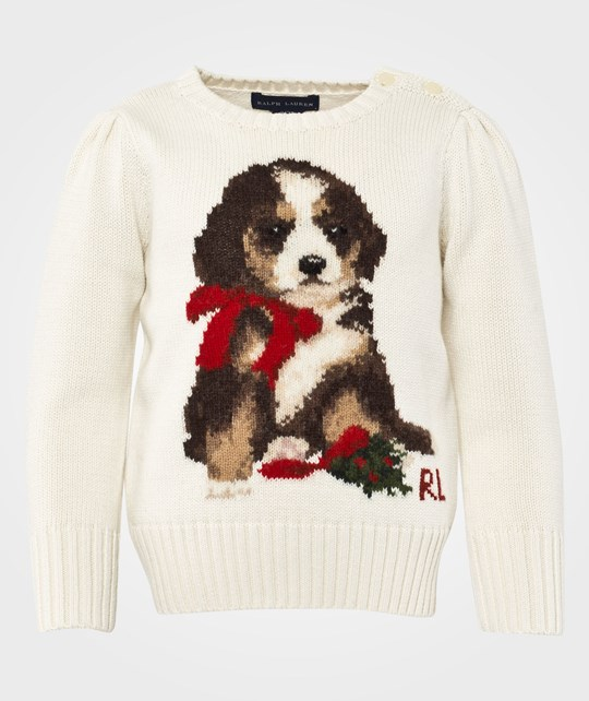 Ralph Lauren Lsl Dog Sweater Print Essex Cream Beige