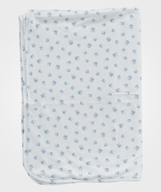 Ralph Lauren Receiving Blanket White Multi W Pearl Blue Multi