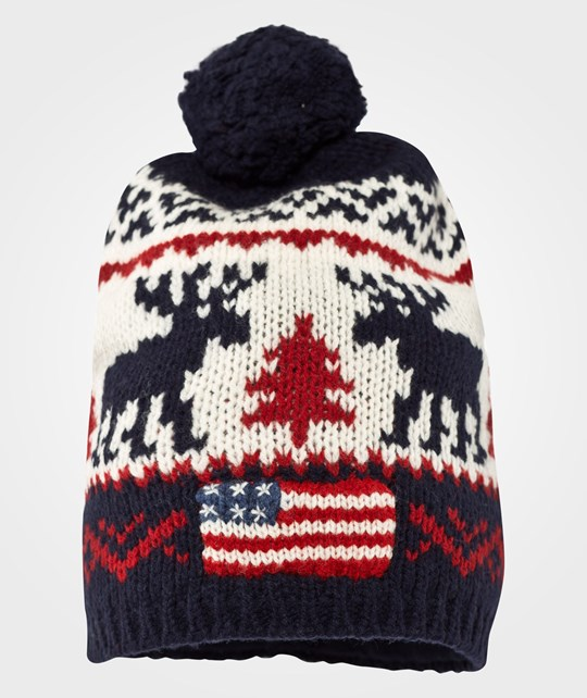 Ralph Lauren Reindeer Hat Cream/Navy Blue