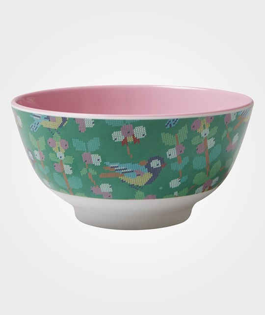 Rice Melamine Bowl Cross Stitch Bird Print Green