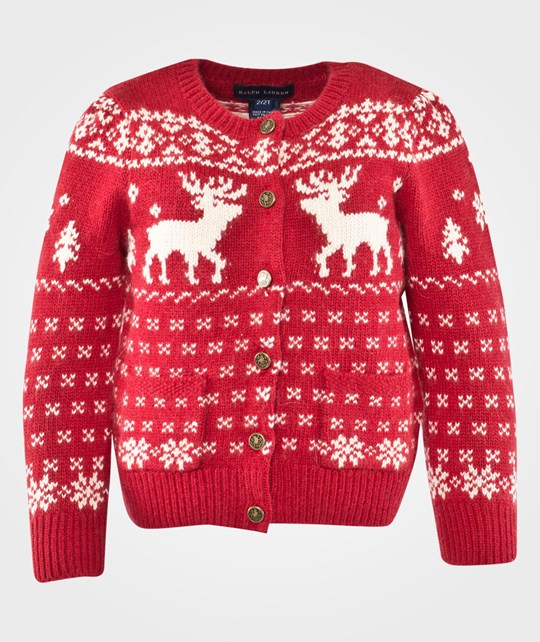 Ralph Lauren Lsl Reindeer Cardigan Holiday Red Red
