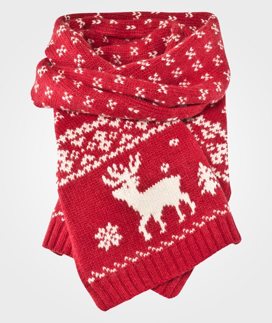 Ralph Lauren Reindeer Scarf Holiday Red Red