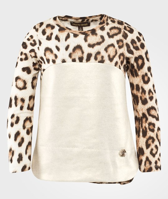 Roberto Cavalli Gold and Leopard T-shirt Beige