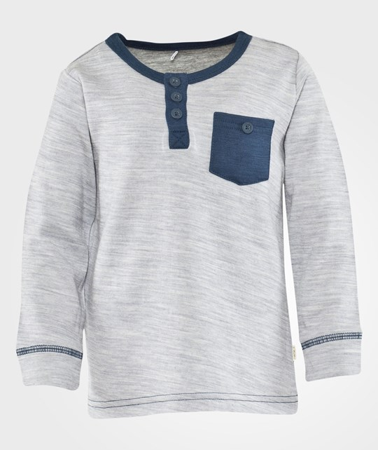 Name it Wisti Wool/Co Mini Ls Top Grey Melange Black