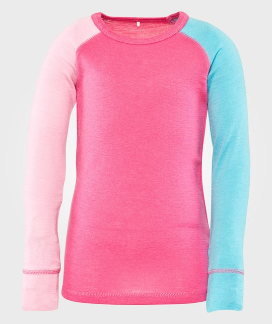 Name it Willi Wool Kids Ls Sl Top Pink Glo Pink