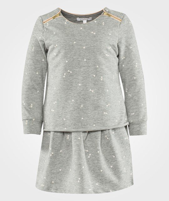 Chloé Long Sleeved Dress Light Chine Grey Black