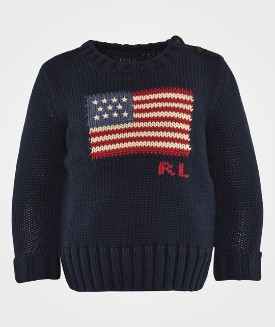 Ralph Lauren Cn Po With Flag Intarsia Hunter Navy Blue