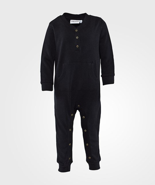 Mini Rodini Cat Face Sp Onesie Black