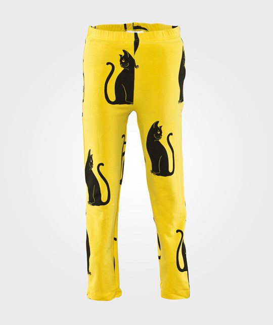 Mini Rodini Cats Aop Leggings Yellow