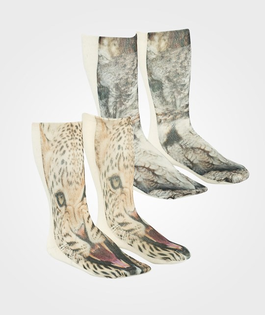 Popupshop Socks 2 Pairs Owl and Leopard Multi