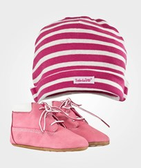 Timberland Crib Bootie With Hat Pink Pink