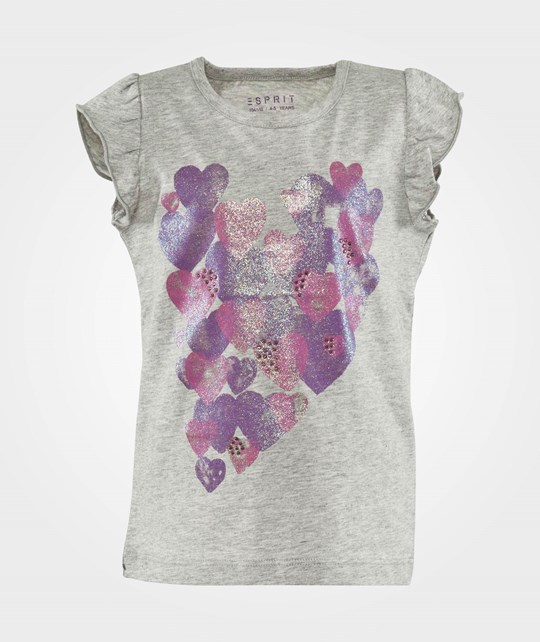 Esprit Heart T-Shirt Oxford Grey Melange Black