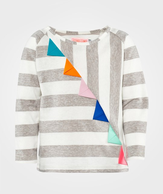 Wauw Capow Hey You T-shirt  Grey Melange & White Striped