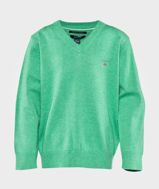 Gant Cotton V-Neck Ocean Green Melange