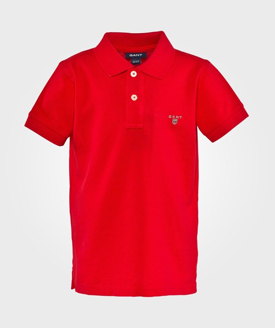 Gant Solid Ss Pique Bright Red