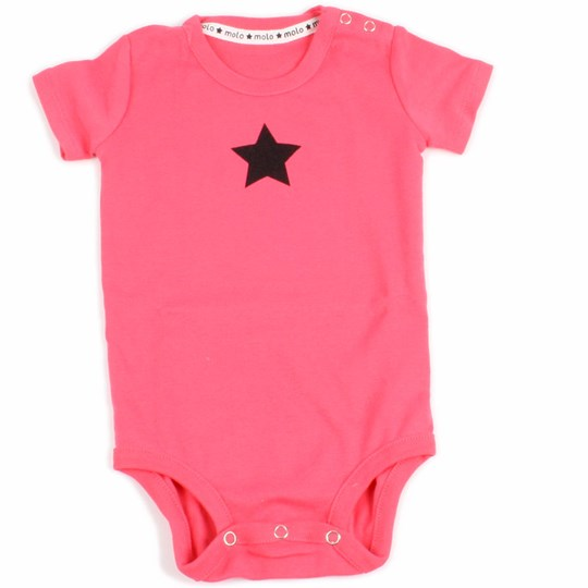 Molo Onesie Feo Girly Pink with Black Star Pink