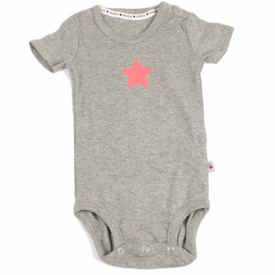 Molo Onesie Feo Grey with Pink star Black
