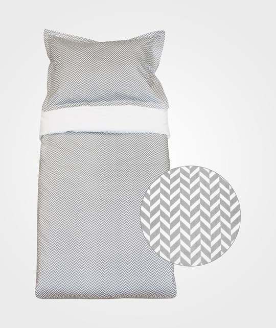 Bliss Bed Set Crib Herringbone Charcoal Grey