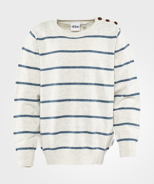 ebbe Kids Sailon Striped Knit Sweater Offwhite/steel blue