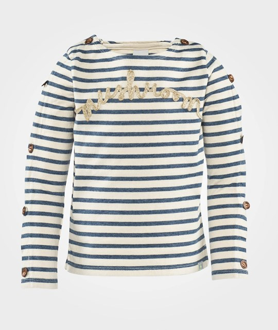 Scotch R'belle Boat Neck Sweat With Buttons At Sleeves Dessin
