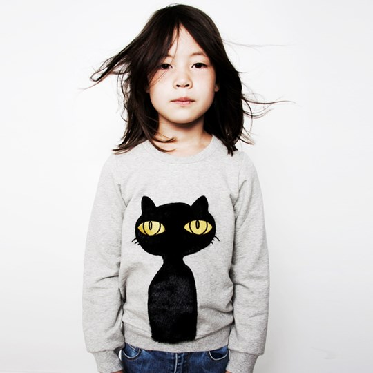Mini Rodini Sweat Cat Black