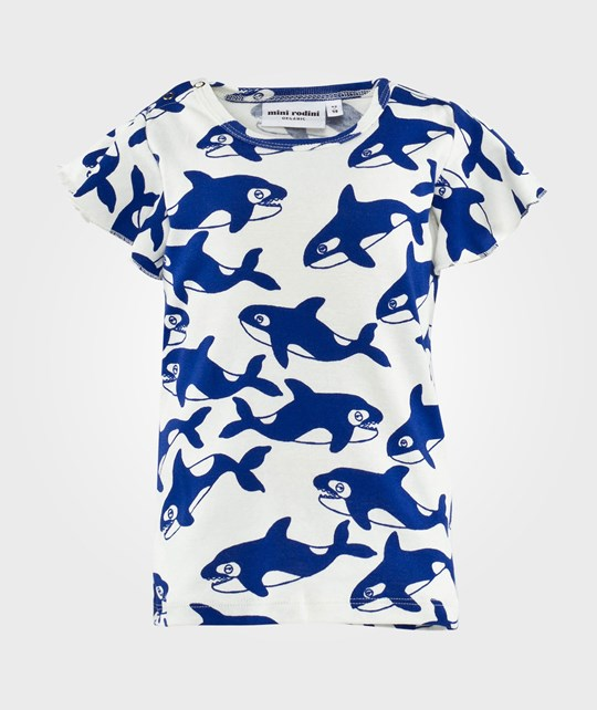 Mini Rodini Killer Whale Aop Wing Tee Blue Blue