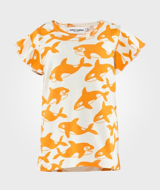 Mini Rodini Killer Whale Aop Wing Tee Orange Oransje