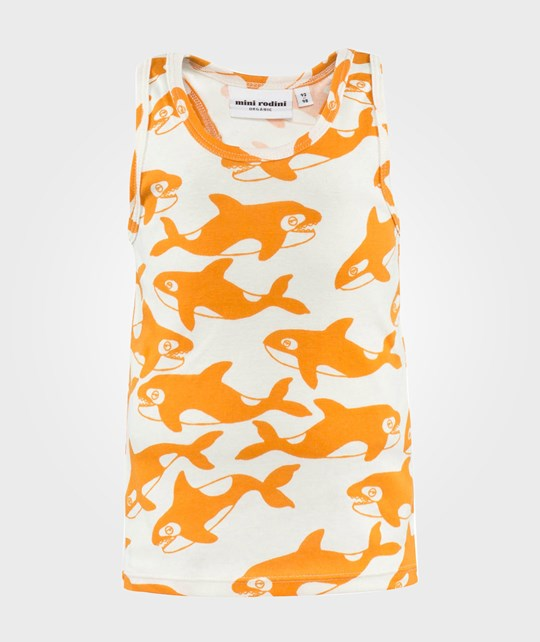 Mini Rodini Killer Whale Aop Tank Orange оранжевый