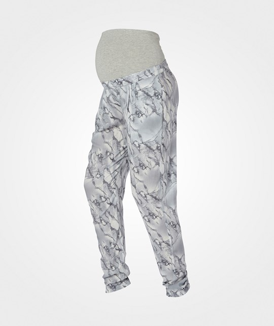 Mamalicious Marble Woven Loose Pant  Snow White
