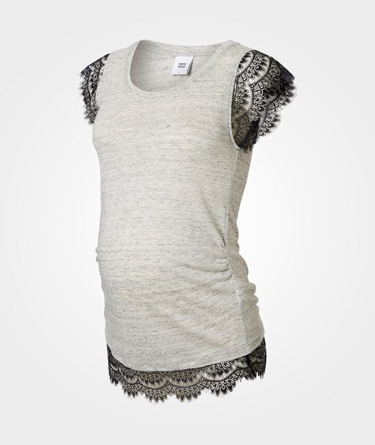 Mamalicious Sandy Ss Jersey Top  Light Grey Melange