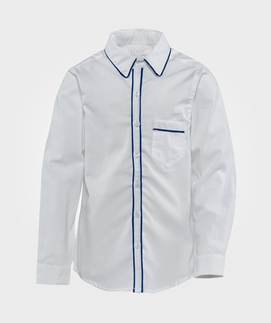 Livly Brooklyn Shirt  White/ Snorkle Blue Vivo