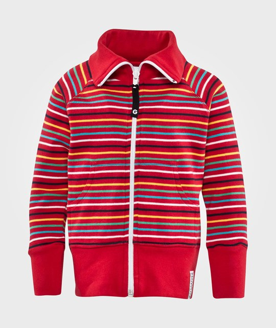 Geggamoja Zip Sweater Multistriped Red