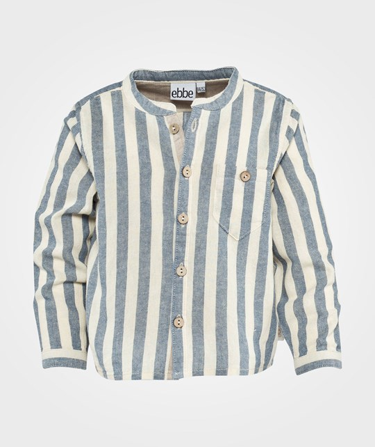 ebbe Kids Tobbe Shirt L/S, Chimney Collar Baby  Blue/beige stripe