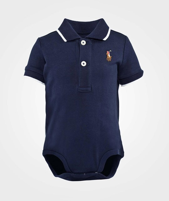 Ralph Lauren Bodysuit Tipped Polo Pp French Navy
