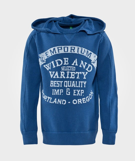 United Colors of Benetton Jersey Knit Printed Hoodie  Blue Blue