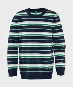 United Colors of Benetton Stripy Jumper  Navy Green Mix