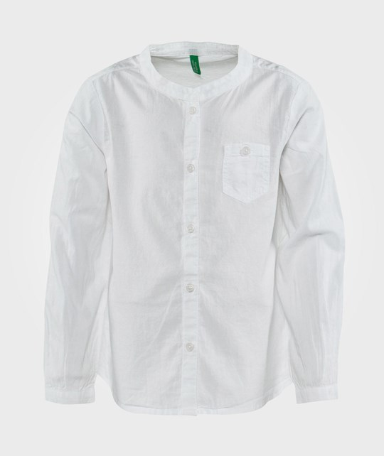 United Colors of Benetton Round Neck Collarless Casual Shirt White White